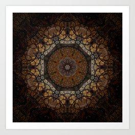 Rich Brown and Gold Textured Mandala Art Art Print