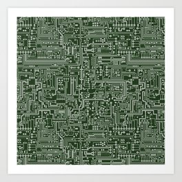 Circuit Board // Green & Silver Art Print