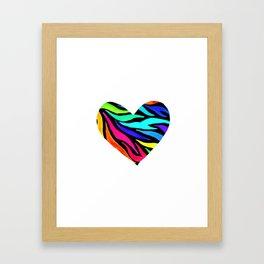Rainbow Zebra Print Heart! Framed Art Print