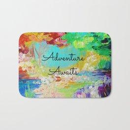 ADVENTURE AWAITS Wanderlust Typography Explore Summer Nature Rainbow Abstract Fine Art Painting Bath Mat
