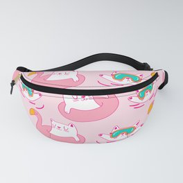 Cute Hand Drawn Swimming Cats Pattern Fanny Pack