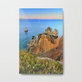 Praia Do Camilo At Sunset. Algarve. Portugal Metal Print