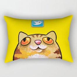 Cat love twitter bir yellow Rectangular Pillow