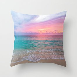 Aerial Photography Beautiful: Turquoise Sunset Relaxing, Peaceful, Coastal Seashore Throw Pillow