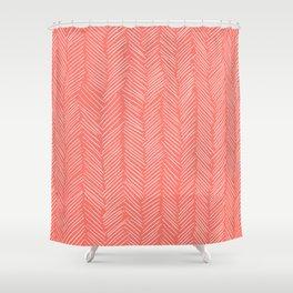 Living Coral Herringbone Happiness Shower Curtain