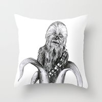 chewbacca Throw Pillows featuring Chewbacca banana by ronnie mcneil