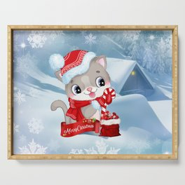 Merry Christmas Little Cat Serving Tray