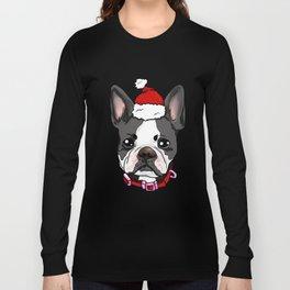 Boston Terrier Dog Christmas Hat Present Long Sleeve T-shirt