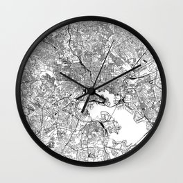 Baltimore White Map Wall Clock
