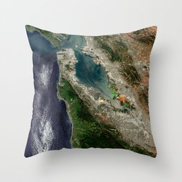 San Francisco Satellite image Throw Pillow