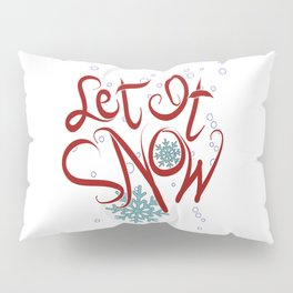 Let It Snow Christmas Typography Lettering Pillow Sham