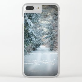 Trail by Evergreens in Winter Clear iPhone Case
