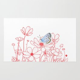 Cosmos and Butterfly Rug
