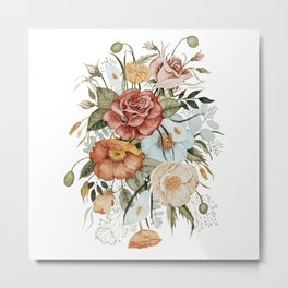 Roses and Poppies Metal Print