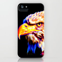 bald eagle 03 neon lines crystal iPhone Case