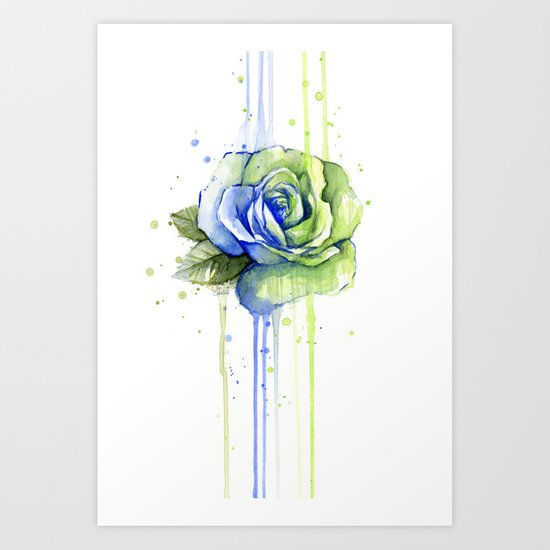 Flower Rose Watercolor Painting 12th Man Art by olechka