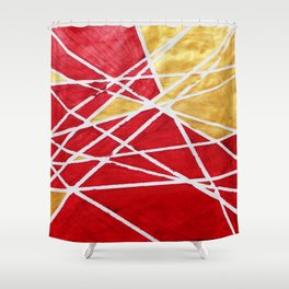 Golden Red Abstract Geometric Art (#1) Shower Curtain