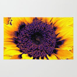 Purple Floral Center Of Butter Yellow Sunflower Rug