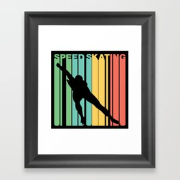Retro Style Speed Skating Speed Skater Framed Art Print