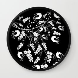 black and white bird 2 Wall Clock