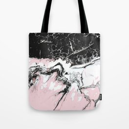 pink and black marble Tote Bag