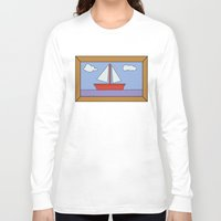 simpsons Long Sleeve T-shirts featuring Simpsons Sailboat Artwork by d3mentia