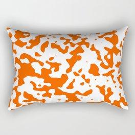 Spots - White and Dark Orange Rectangular Pillow