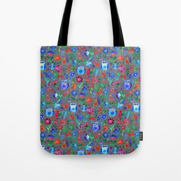Little Owls and Flowers on Grey Tote Bag
