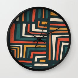 Square puzzle folk pattern Wall Clock