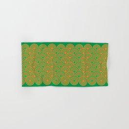 op art pattern retro circles in green and orange Hand & Bath Towel