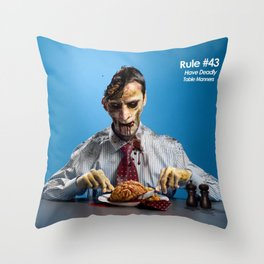 Zombie Etiquette : Table Manners Throw Pillow