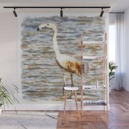 Pretty Flamingo Fledgling Watercolor Wall Mural