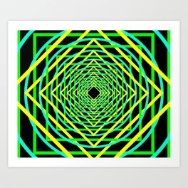 Diamonds in the Rounds Blacklight Neons Yellow Greens Art Print