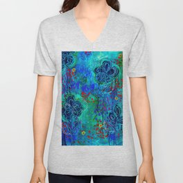 In Too Deep - Blue Abstract Flowers Unisex V-Neck
