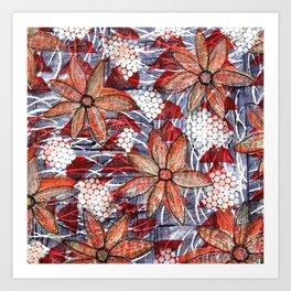 Orange flowers quilted fabric Art Print