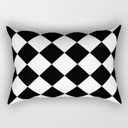 Large Diamonds - White and Black Rectangular Pillow