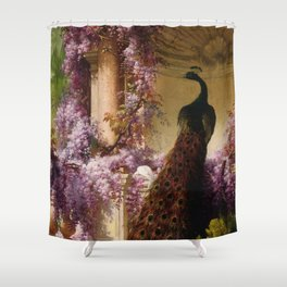 Peacock, White Doves, Yellow Iris & Purple Flowering Wisteria in a Garden landscape floral painting Shower Curtain