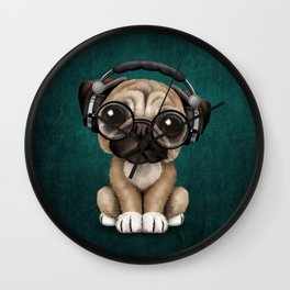 Cute Pug Puppy Dj Wearing Headphones and Glasses on Blue Wall Clock