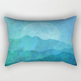 Blue Abstract Landscape Rectangular Pillow