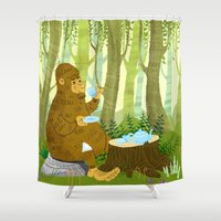bigfoot Shower Curtains featuring Bigfoot Busted by Tim Paul