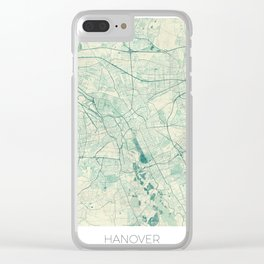 Hanover Map Blue Vintage Clear iPhone Case
