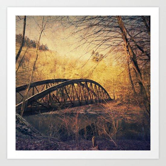 Vintage Rust - abandoned bridge Art Print