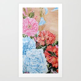 POISE AND PRIDE- Peony And Bush Lily - Original fine art floral painting by HSIN LIN / HSIN LIN ART Art Print