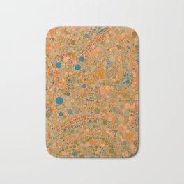 MADRID warm rich tones ochre orange blue abstract dot design Bath Mat