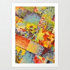 COLORFUL INDECISION 3 - Wild Vivid Rainbow Abstract Acrylic Painting Mixed Pattern Pretty Art Gift  Art Print