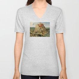 The Tower of Babel 1563 Unisex V-Neck