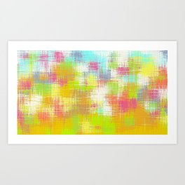 green yellow pink and blue plaid pattern Art Print