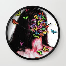 Believe in your beauty, believe in your wings...Emerge, and let yourself fly... Wall Clock