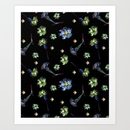 Carnations | Black Art Print