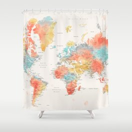 Colorful watercolor world map with cities Shower Curtain
